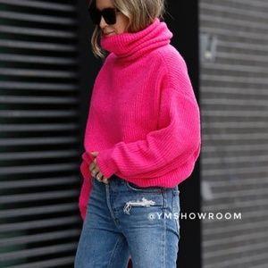 Oversized Neon pink turtleneck sweater